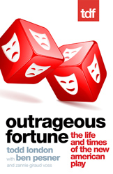 Outrageous Fortune book cover featuring dice with theatre masks