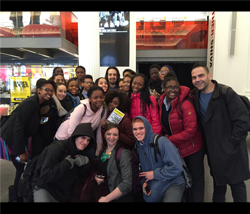 Lin-Manuel Miranda (back, center) with a Stage Doors group from Democracy Prep in Harlem
