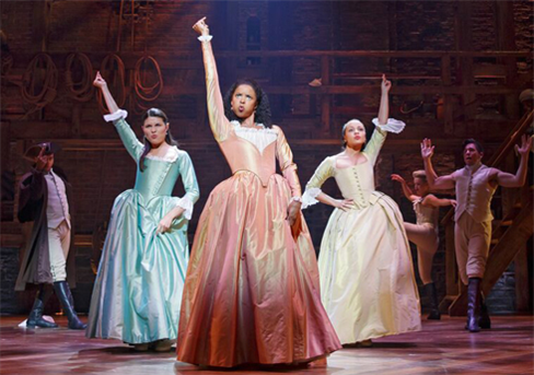 L to R: Phillipa Soo, Renee Elise Goldsberry, & Jasmie Cephas Jones in Hamilton