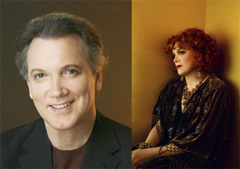 Two sides of Charles Busch (l to r, photos by CB Wakefield and Frederic Aranda)
