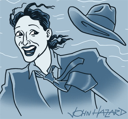 Judy Gold losing her hat, illustration by John Hazard