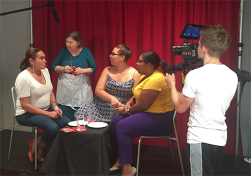 A scene being filmed for the Trans Literacy Project