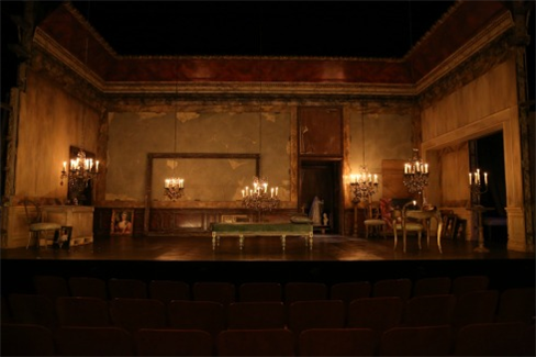 The transformed set, just before the actors enter