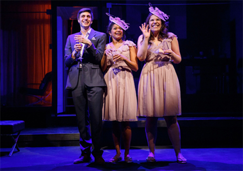 L to R: Gideon Glick, Rebecca Naomi Jones, and Lindsay Mendez