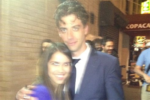 Christian Borle with the writer, after she saw her first Broadway show; photo courtesy of the author